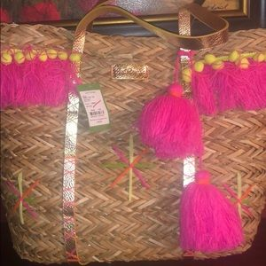 Lilly Pulitzer new with tag Baja straw tote bag